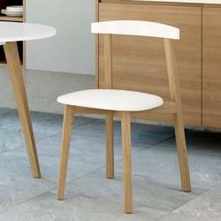 Conjunto mesa fija y sillas de cocina madera barnizada