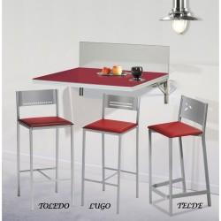 Conjunto Mesa de pared plegable dos posiciones y taburetes