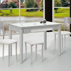 Conjunto mesa extensible alas laterales, sillas y taburetes