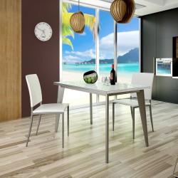 Conjunto con mesa de cocina de diseño más sillas tapizadas