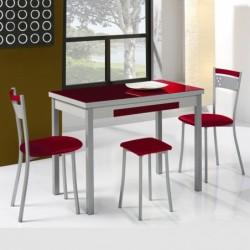 Pack Mesa de cocina extensibles alas laterales con sillas y taburetes