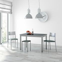 Conjunto de mesa de cocina extensible más sillas y taburetes potes, lalín y rubí