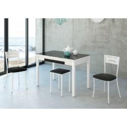 Conjunto de mesa cocina extensible con sillas y taburetes blancos