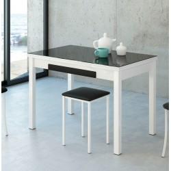 Mesa de cocina extensible 100x60 estructura blanca